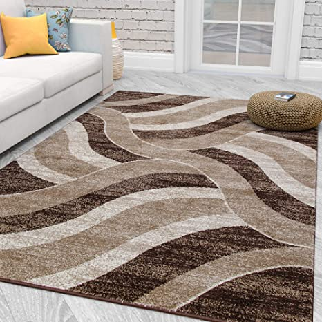 Amazon Com Ottomanson City Collection Modern Area Rug Contemporary Sculpted Effect Abstract Chocolate Rug 5x7 5 3 X 7 3 5 3 X 7 3 Brown Beige Waves Furniture Decor