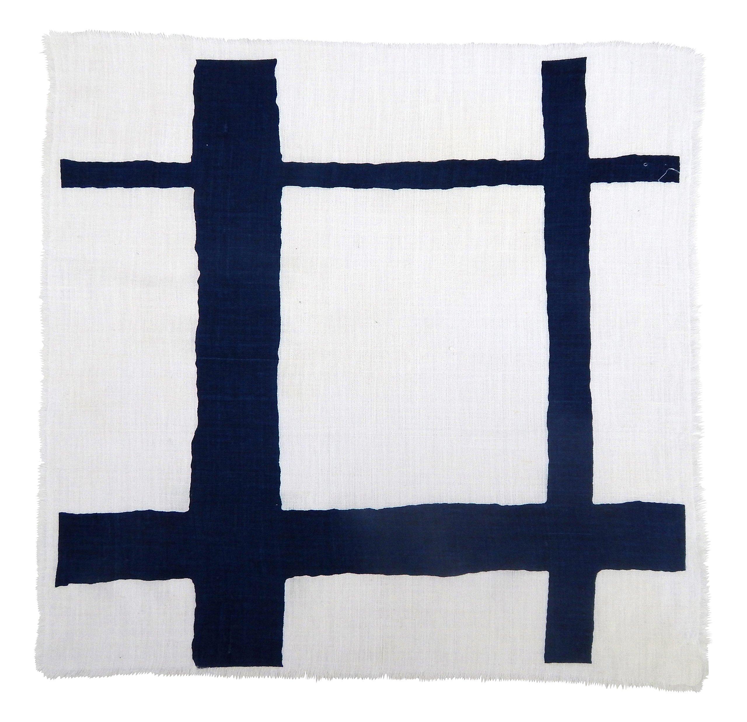 Gitika Goyal Home Windows Collection Cotton Khadi  White Napkin 17x17 Checks Design, Blue Hand Screen Print