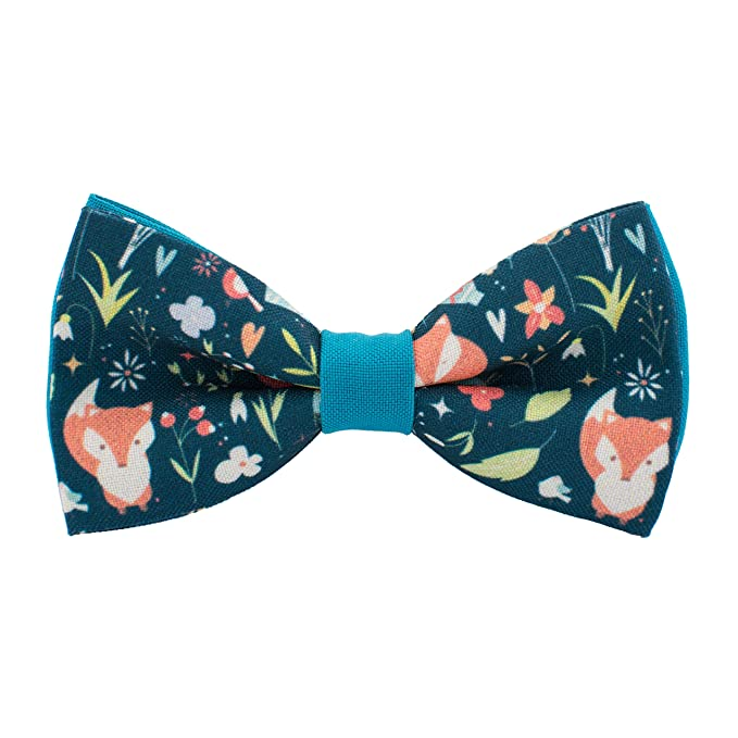 Bow Tie House Fox bow tie blue gabardine material unisex pre-tied pattern ZuHfxXnW