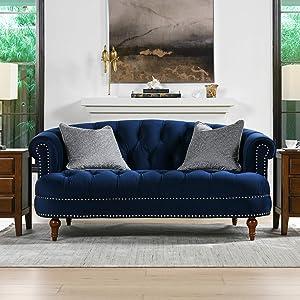 Jennifer Taylor Home La Rosa Loveseat, Navy Blue