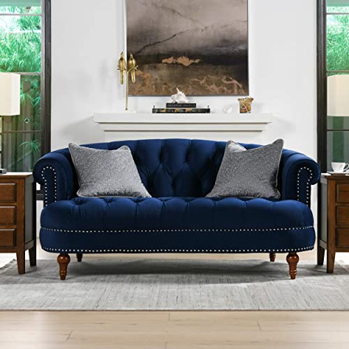 Jennifer Taylor Home La Rosa Loveseat, Navy Blue