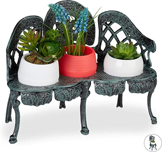 Relaxdays Soporte Macetas Banco Jardín Antiguo, Hierro Fundido, Verde Oscuro, 3 Macetas, 24 x 31 x 16 cm: Amazon.es: Jardín