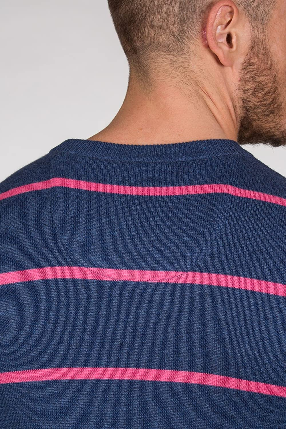 4755e990111acc Raging Bull Knitted Jumper - Cotton/Cashmere Striped Crew Neck:  Amazon.co.uk: Clothing