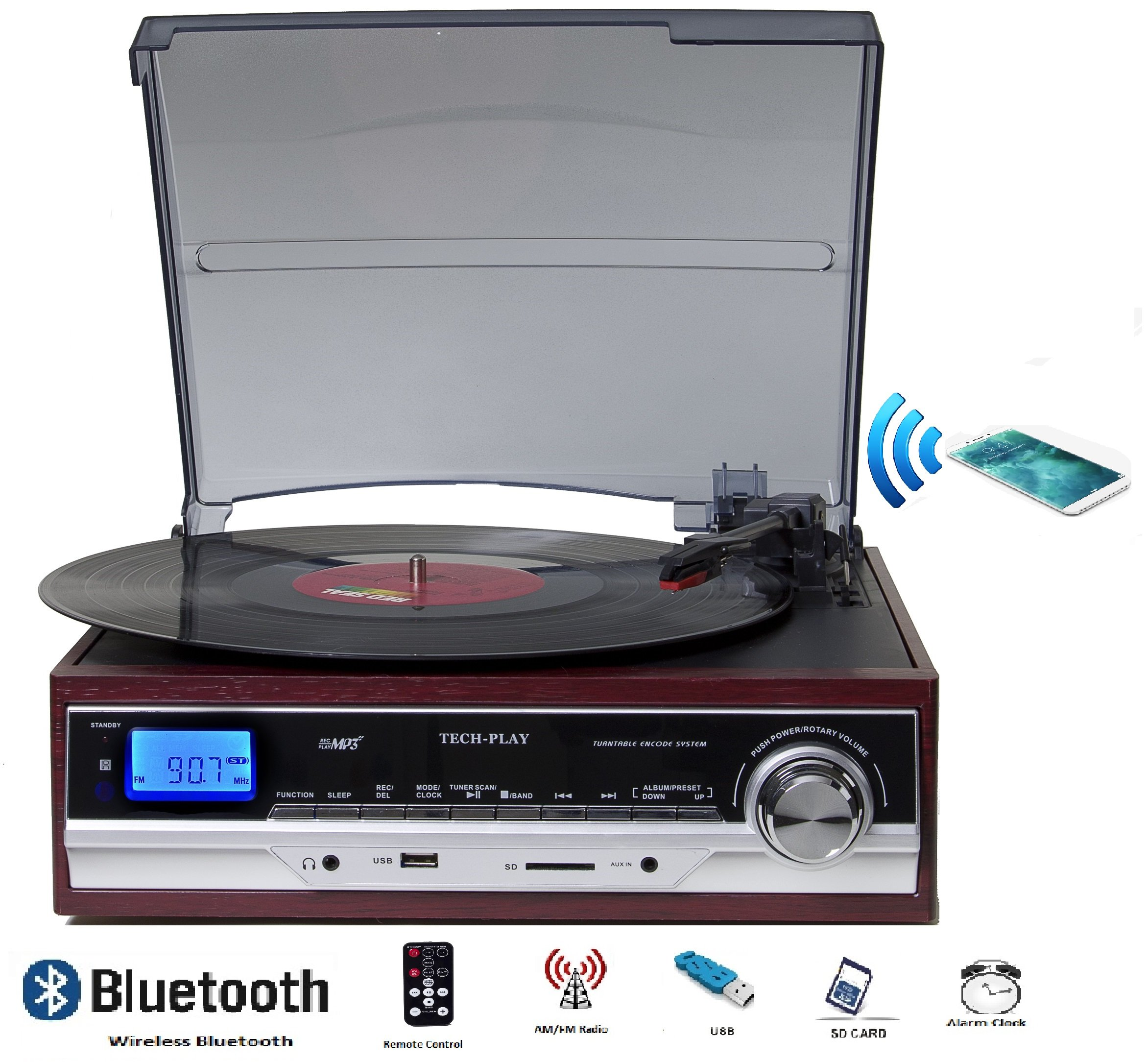 TechPlay ODC17BT , Bluetooth connection, 3-Speed Turntable W/SD USB, MP3 Encoding System, AM/FM Stereo Radio & built-in speakers in wood color