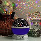 Nyrwana Night Light Lamp, Sky Moon Star Projector ,360 Degree Rotation , 4 LED Bulbs, 3 Mode Light, Color Changing With USB Cable for Kids Baby Bedroom Gifts