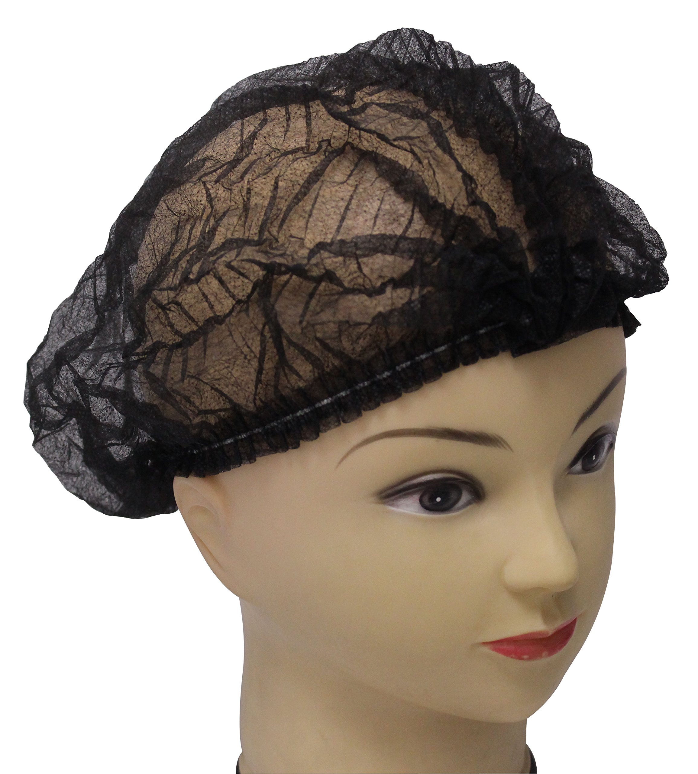 100 pieces disposable Non-woven Clip Caps Mob caps hairnets head cover, 21'', with 6 colors for you to choose. (Black)