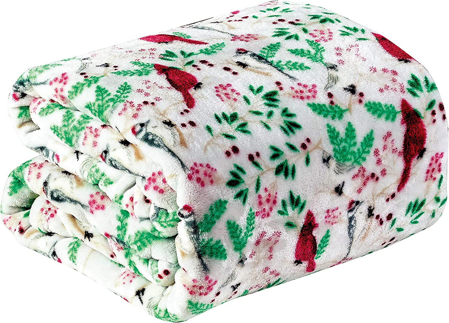 """Décor&More Santa's Little Helper Collection Festive and Cuddly Holiday Microplush Throw Blanket (50"""" x 60"""") - Cardinals"""