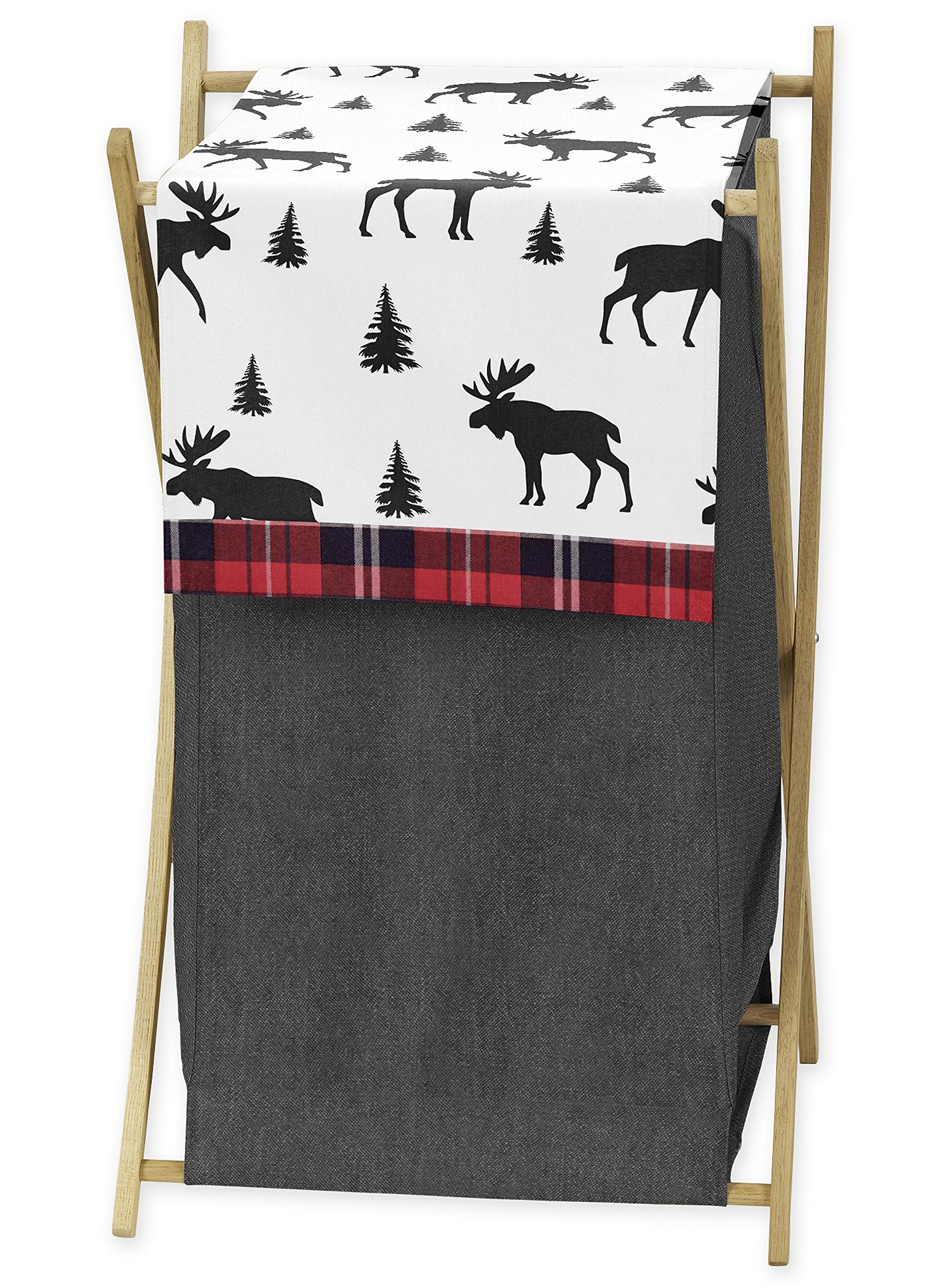 Sweet Jojo Designs Grey, Black and Red Woodland Plaid and Moose Baby Kid Clothes Laundry Hamper for Rustic Patch Collection by Sweet Jojo Designs