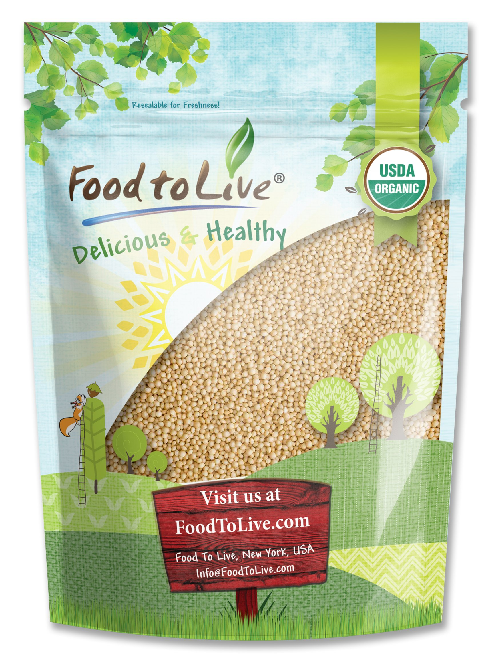 Food to Live Certified Organic Amaranth Grain (Whole Seeds, Non-GMO, Kosher, Bulk) (1 Pound)