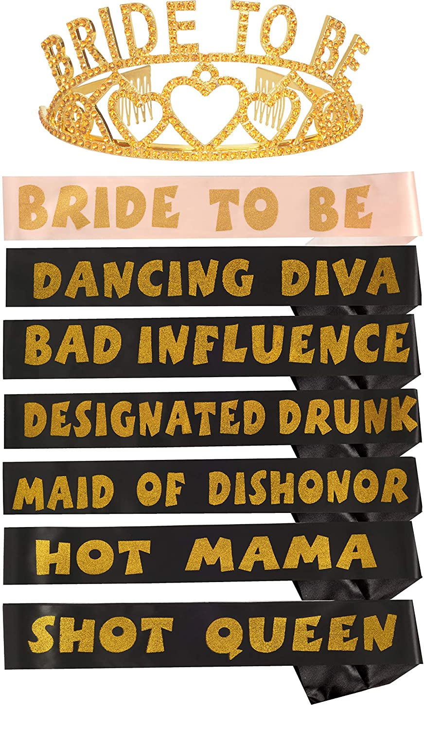 Bride to Be Sash Bachelorette Sashes Set for Bridesmaid 6 Bride Tribe Sashes With Fun Phrases Imprinted Wedding Party Hen Party Meant2ToBe Elegant Gold Rhinestone Tiara//Crown 7 Bachelorette Gold Sashes