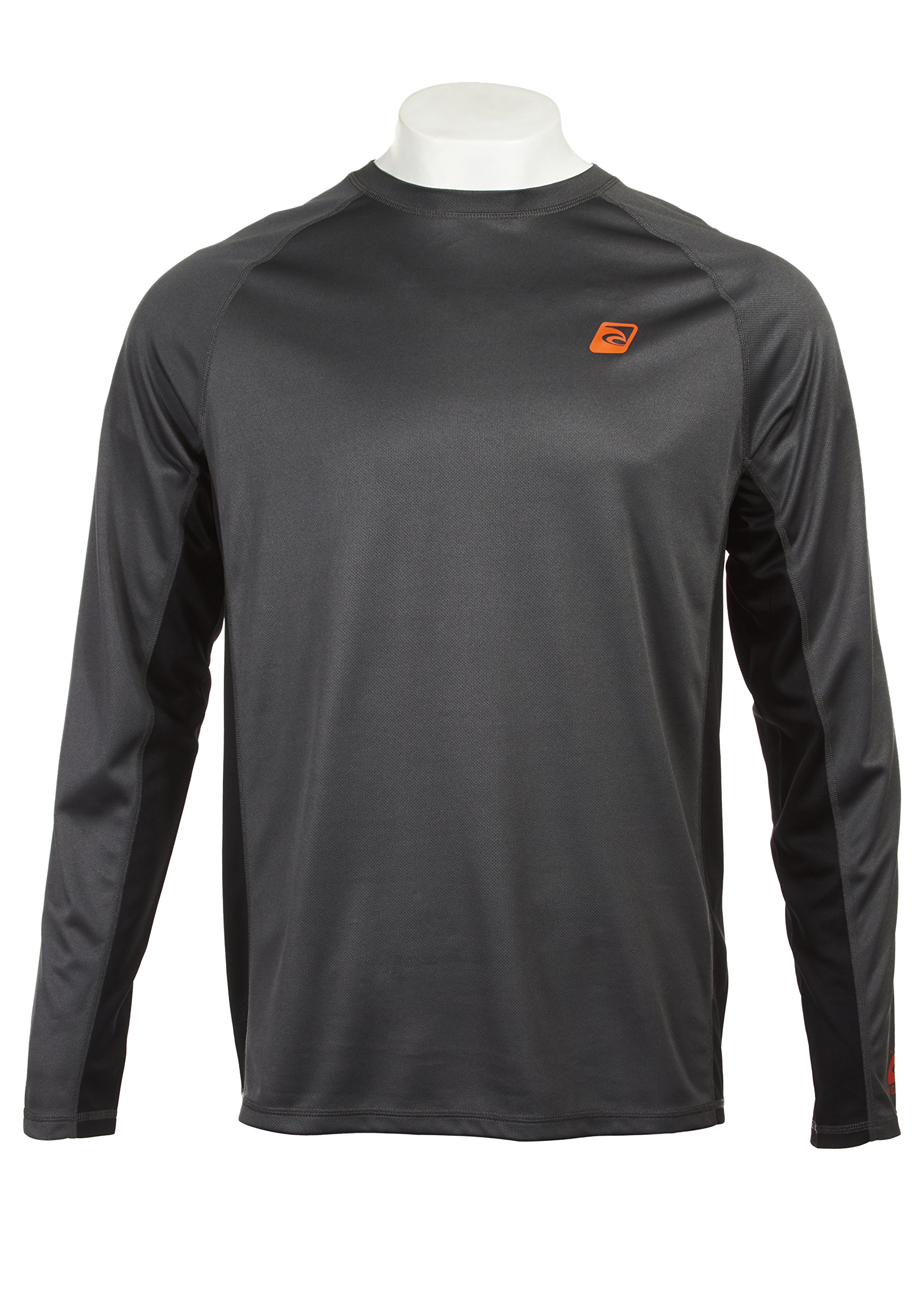 Laguna Men's UPF 50+ Lifeguard Loose-Fit Rashguard, Charcoal/Black, 2XL