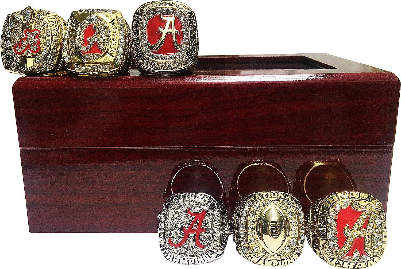 MT-Sports Alabama Crimson Tide Championship Rings 6 Pcs Collectible Replica Fans Souvenir Size 11