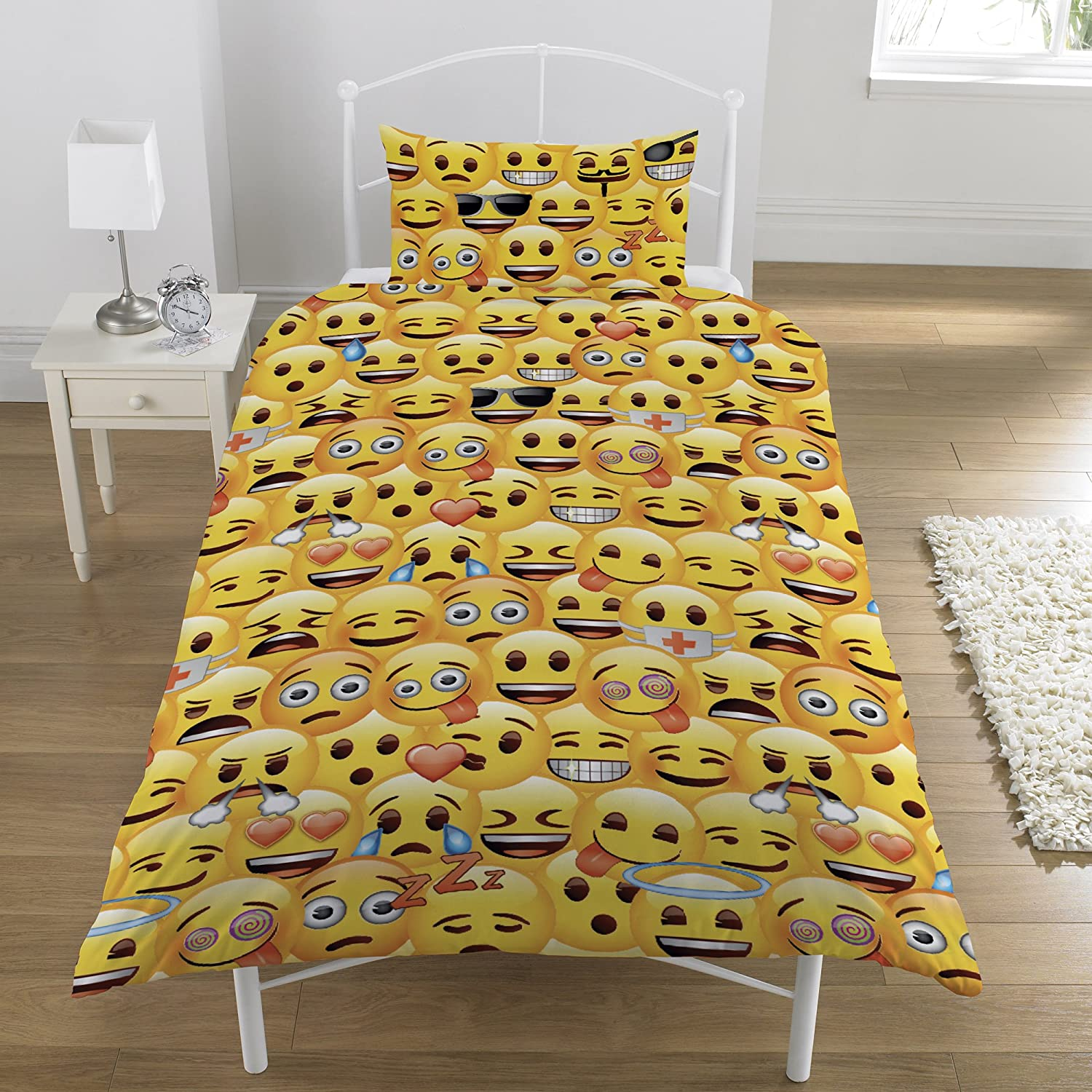 Emoji Rotary Duvet Set, Yellow, Single Dreamtex Ltd SR1-EMO-JO1-12