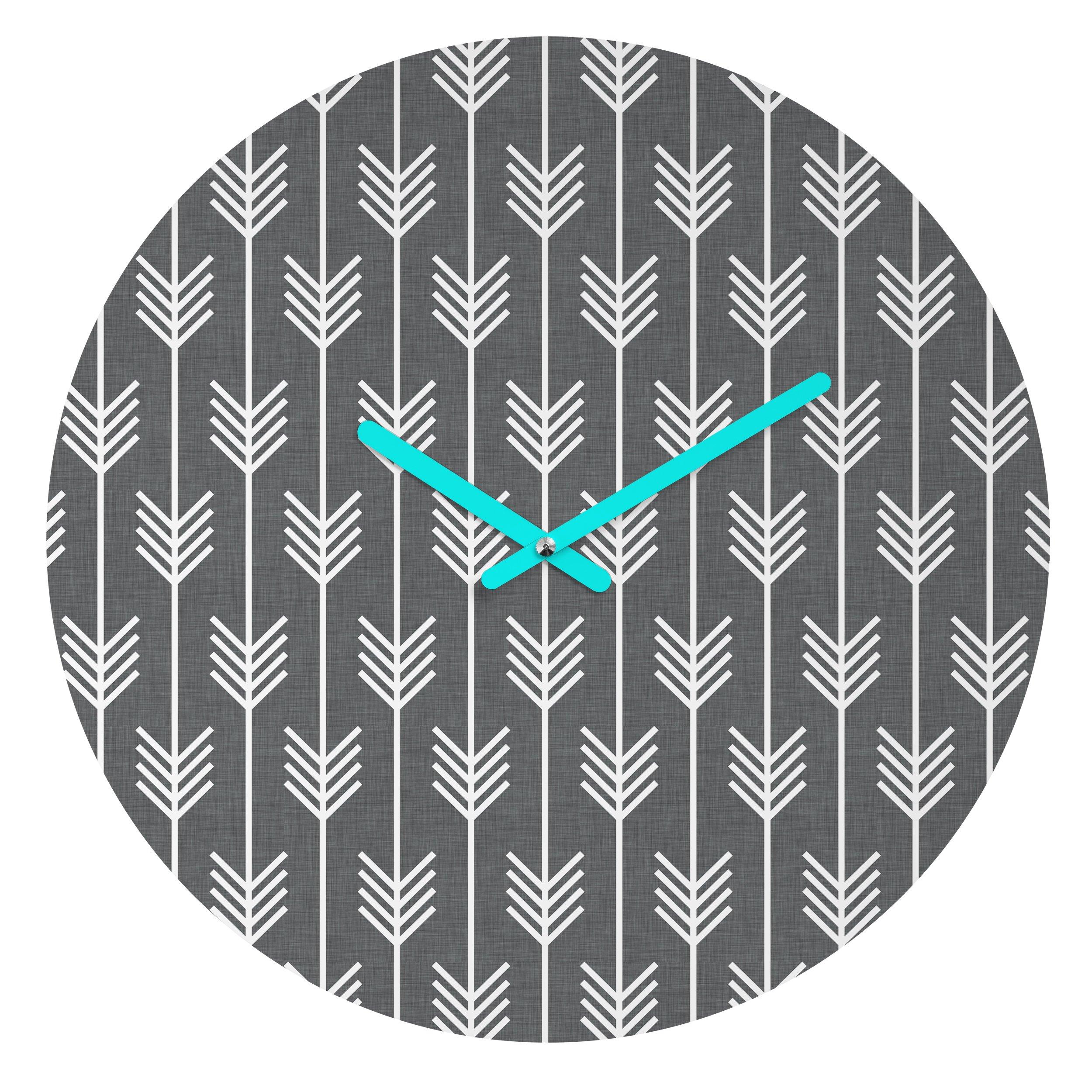 Deny Designs Holli Zollinger Arrows Grey Round Clock
