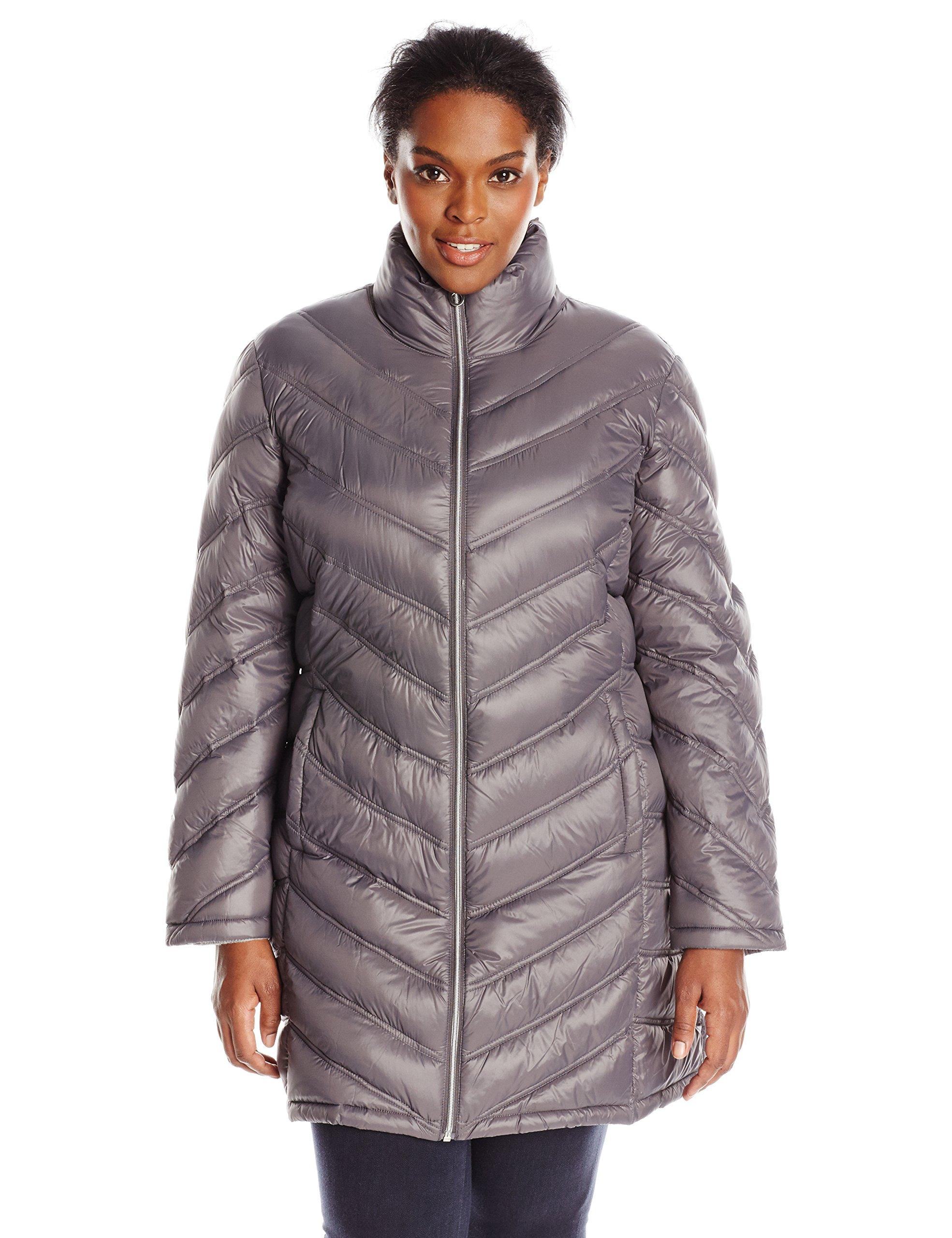 Calvin Klein Women's Plus-Size Chevron-Quilted Packable Down Coat Plus, Titanium, 2X