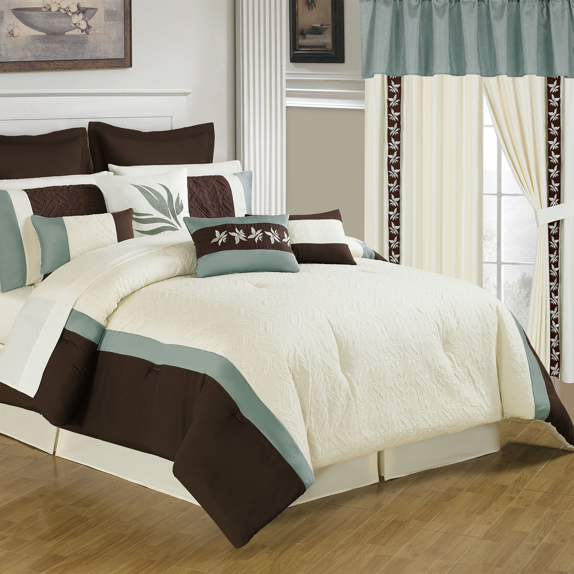 Lavish Home 66-00010-24pc-K 25-Piece Room-in-a-Bag Anna Bedroom Set, King