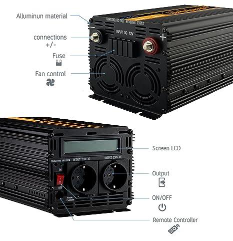 inversor 12v 220v ONDA PURA inversor 1000w convertidor de voltaje 12v 220v onda pura LCD: Amazon.es: Coche y moto