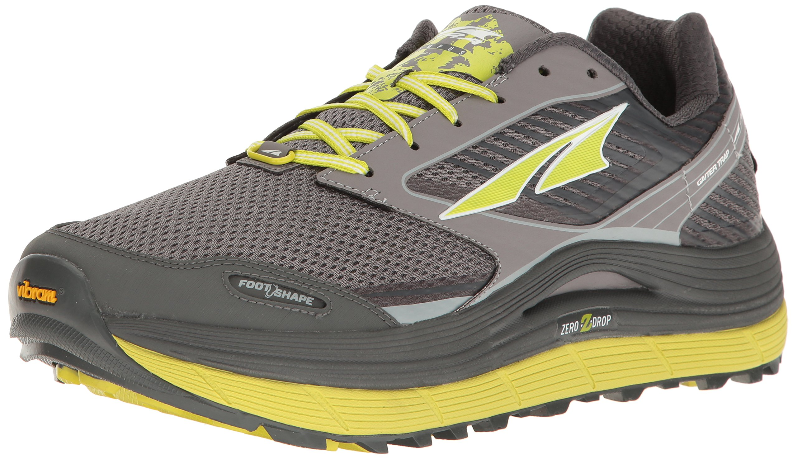 Altra Men's Olympus 2.5 Running-Shoe, Gray/Lime, 12 D US