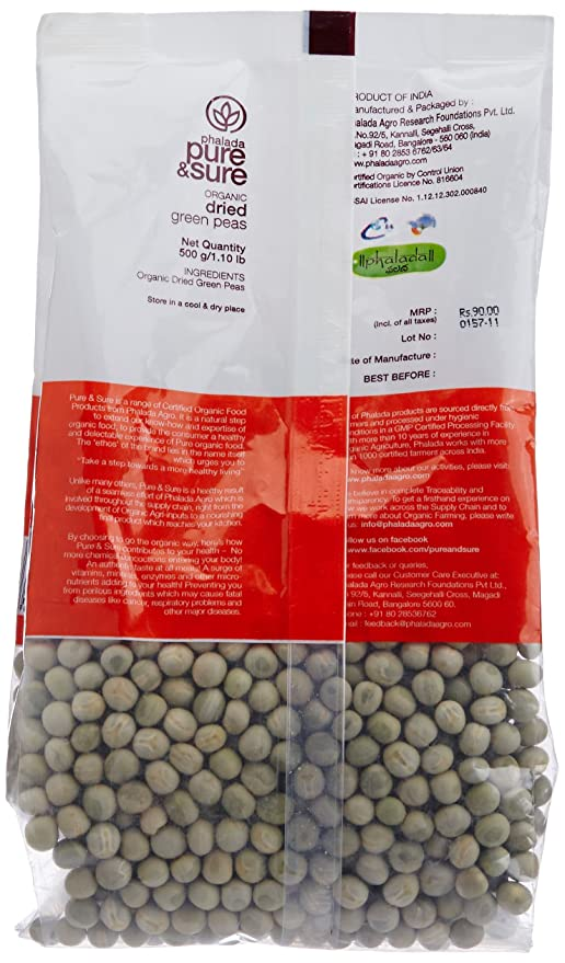 pure sure organic green peas dried 500g amazon in grocery gourmet foods