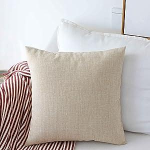 HOME BRILLIANT Burlap Decorative Throw Pillow Euro Sham Pillowcase Cushion Cover for Couch Outdoor Patio, 26x26(66cm), Light Linen