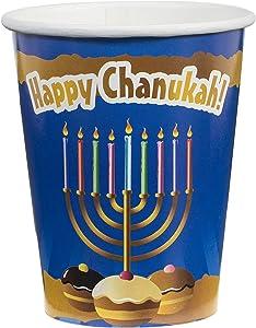 [9 oz Cup 20 Pack] Happy Chanukah 9 oz Paper cups Light blue Design