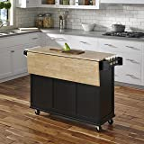Liberty Black Kitchen Cart with Wood Top by Home