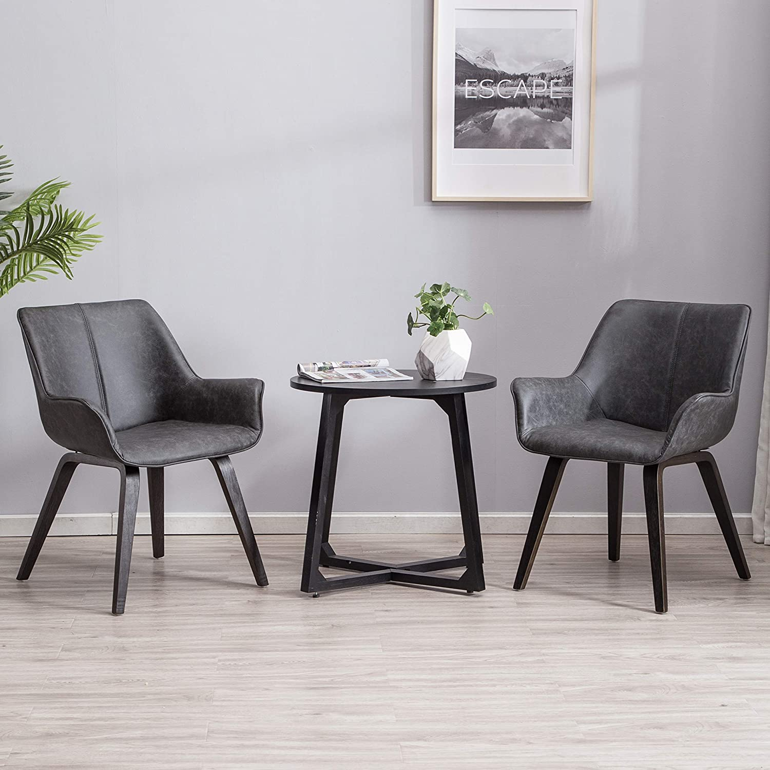 YEEFY Charcoal Leather Living Room Room Chairs with arms Contemporary  Living Room Chairs Set of 2 (Charcoal)
