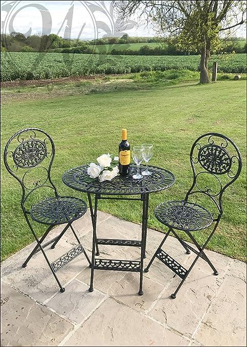 Tavoli E Sedie Stile Vintage.Whaleycorn Nero Stile Vintage Garden Set Di Tavolo E Sedie In Ghisa