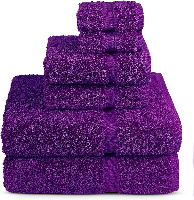 6 Piece Turkish Luxury Turkish Cotton Towel Set - Eco Friendly, 2 Bath Towels, 2 Hand Towels, 2 Wash Clothes by Turkish Towel (Eggplant, Set of 6)