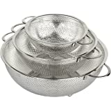 holm 3-Piece Stainless Steel Mesh Micro-Perforated Colander Set (1-Quart, 2.5-Quart and 4.5-Quart)