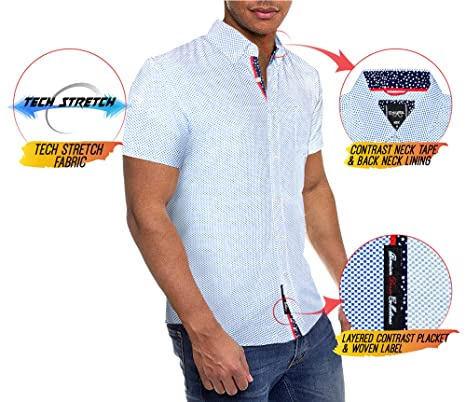 Mens Slim Fit Short Sleeve Button Down Polo Oxford Shirt at Amazon Mens Clothing store: