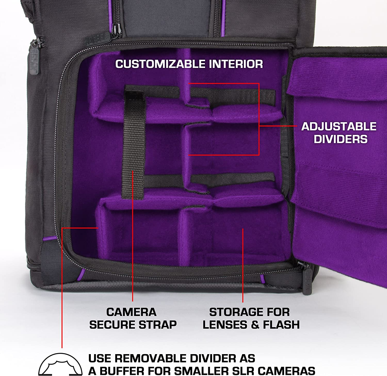 USA GEAR DSLR Camera Backpack Case (Purple) - 15.6 inch Laptop Compartment, Padded Custom Dividers, Tripod Holder, Rain Cover, Long-Lasting Durability and Storage Pockets - Compatible with Many DSLRs : Electronics