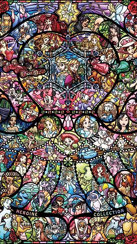 ディズニー ディズニー&ディズニー ピクサー ヒロインコレクション ステンドグラス XFVGA(480×854)壁紙 画像65903 スマポ