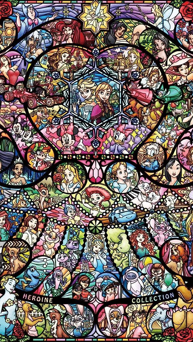 ディズニー ディズニー&ディズニー ピクサー ヒロインコレクション ステンドグラス iPhoneSE/5s/5c/5(640×1136)壁紙 画像64435 スマポ