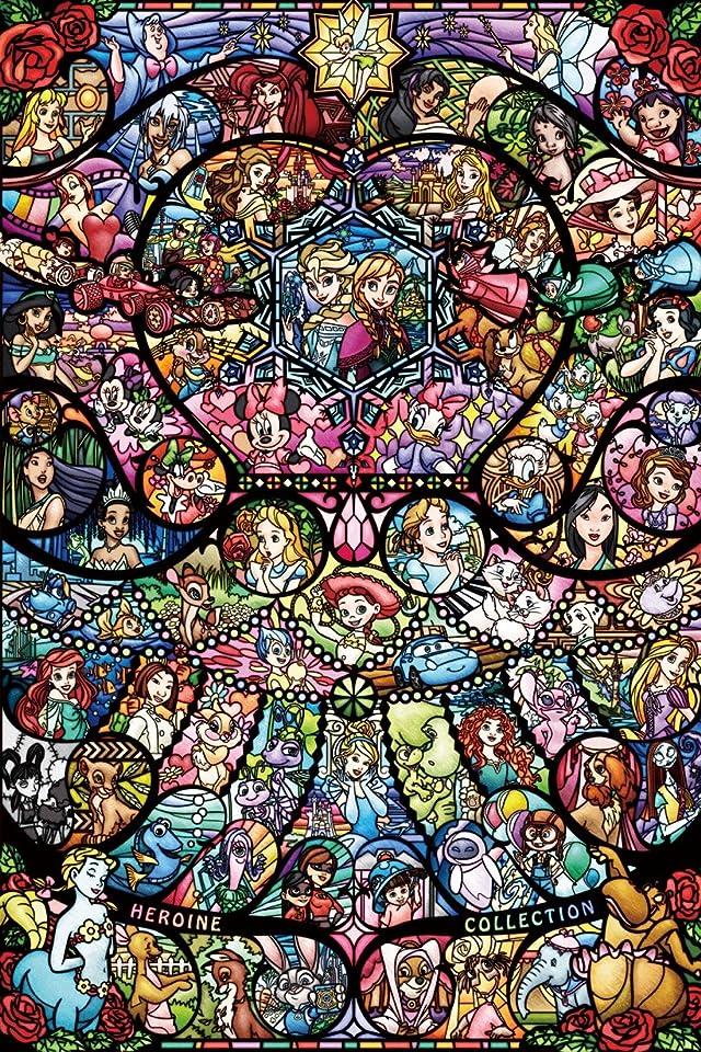 ディズニー ディズニー&ディズニー ピクサー ヒロインコレクション ステンドグラス iPhone(640×960)壁紙 画像65559 スマポ