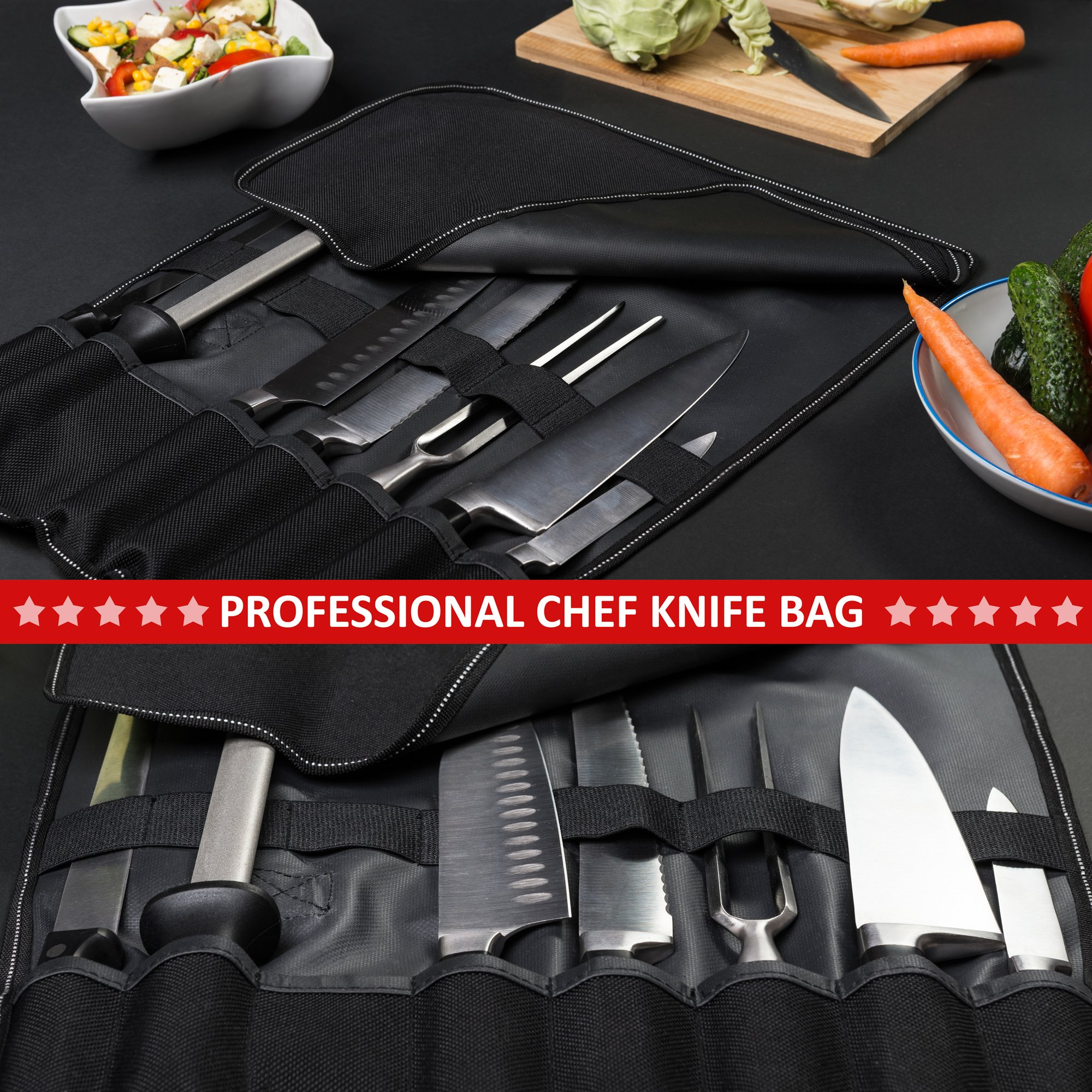 Chef Knife Bag (8 slots) – Durable and Waterproof Culinary Roll Case Utensil With Shoulder Strap and Holder – Knives Organizer For Chefs and Students + eBook Bonus + Extra-Warranty by 1stqual by 1stqual (Image #8)