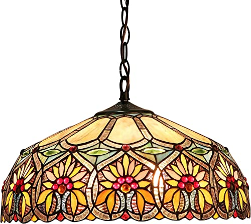 Chloe Lighting CH33453BF18-DH2 Sunny Tiffany-Style Floral 2-Light Ceiling Pendant with Fixture with Shade, 8.7 x 17.7 x 17.7 , Bronze