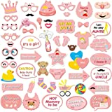 It's a Girl Photo Booth Prop(53Count), Konsait Baby Shower Pink Lovely Baby Bottle Masks Photobooth Props with Sticks for Baby Shower Accessories Newborn Girl Gift Party Favor Supplies Ideas