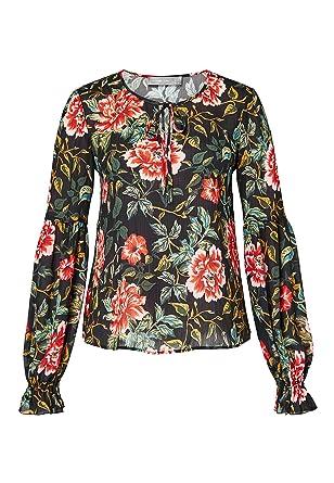 c1836a756c0ac8 HALLHUBER Crêpe-Bluse mit Blumendruck gerade geschnitten Multicolor, 34