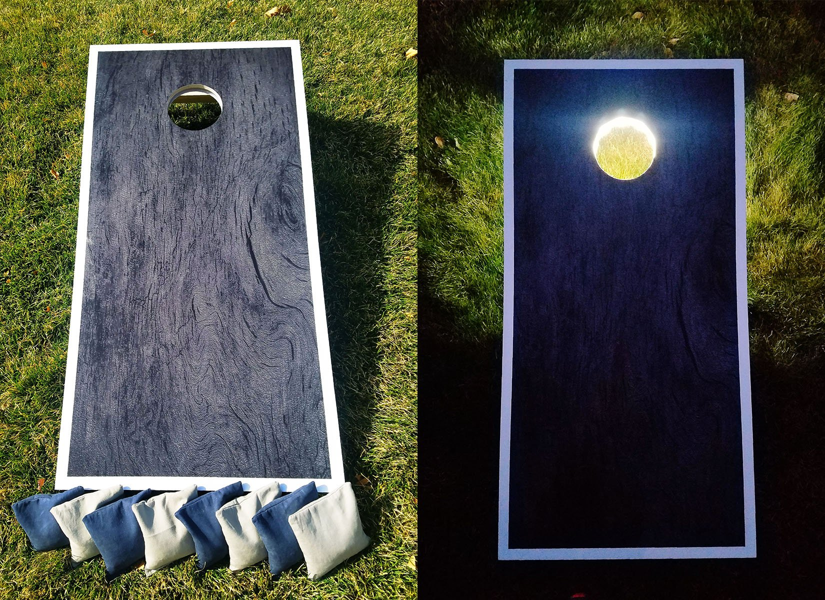 SLR Day & Night Cornhole Board Set - Dark Wood ACA Regulation Size Premium Hardwood Frame W/ Lights Included. Also Comes With 8 Official Size And Weight Corn hole Bags. by SLR Cornhole Co
