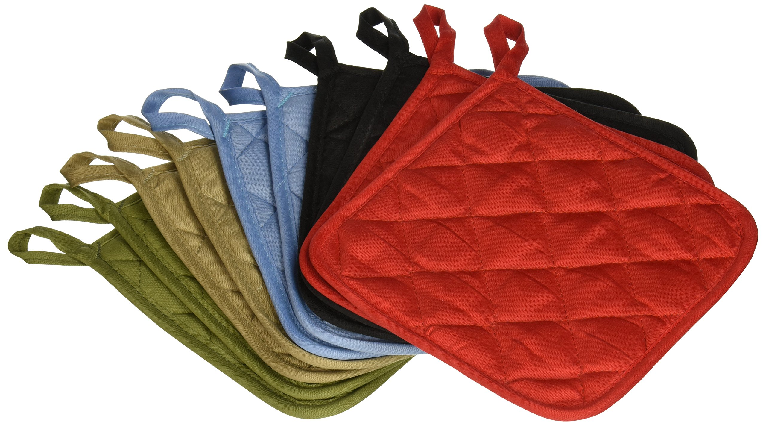 American Linen (Ten) 10 Pack Pot Holders 6.5 Square Solid Color Everday Quality Kitchen Cooking Chef Linens (Multi Color)