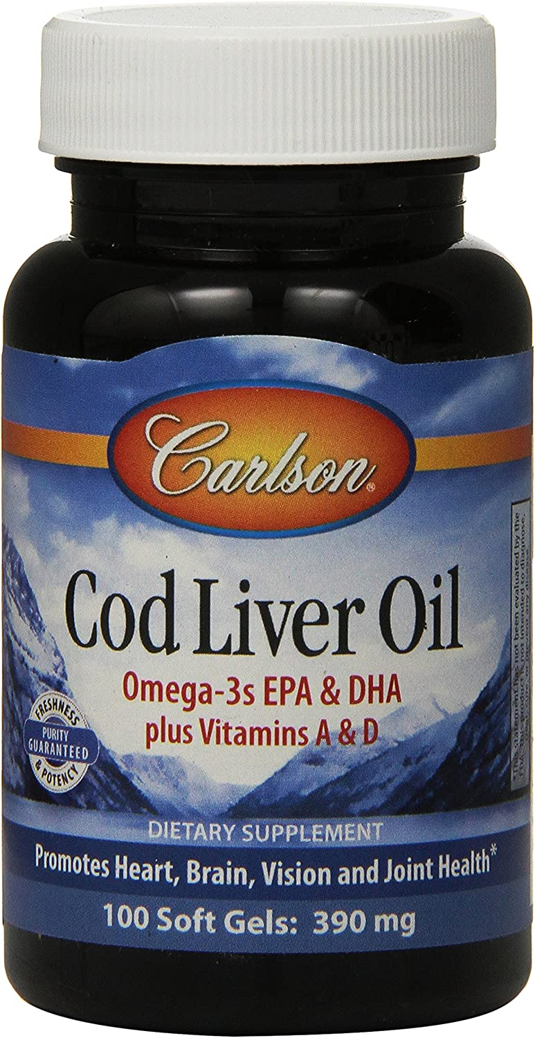 Carlson Labs Norwegian Cod Liver Oil, A natural source of Vitamins A and D, 100 Softgels