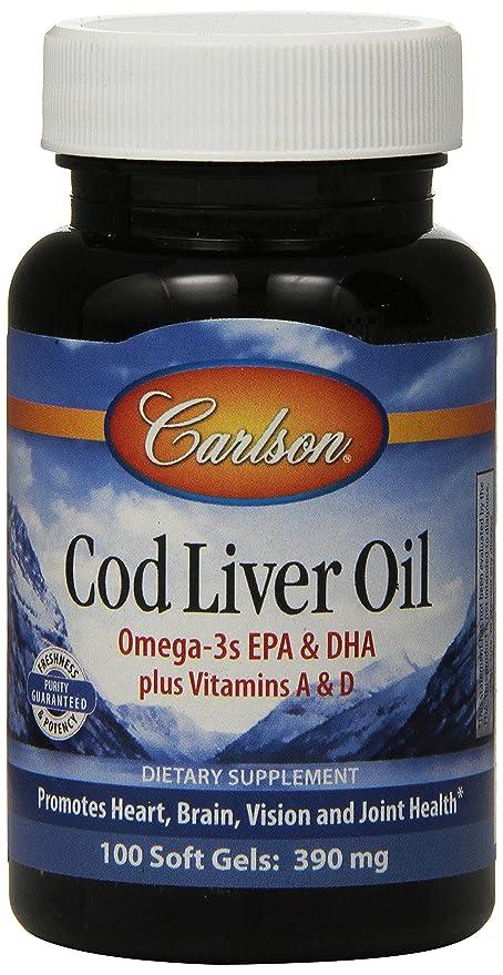 Carlson Labs - Magnesio noruego del aceite del hígado 390 de bacalao. - 100Cápsulas blandas