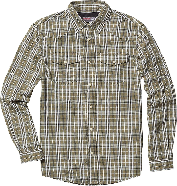 Mens Wrangler Check Shirt Long Sleeve Modern Western Buttoned Pocket Shirt