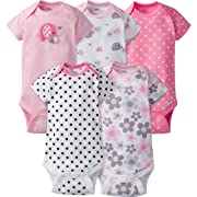 Gerber Baby Girls' 5-Pack Short-Sleeve Onesies Bodysuit, Elephants/Flowers, Newborn