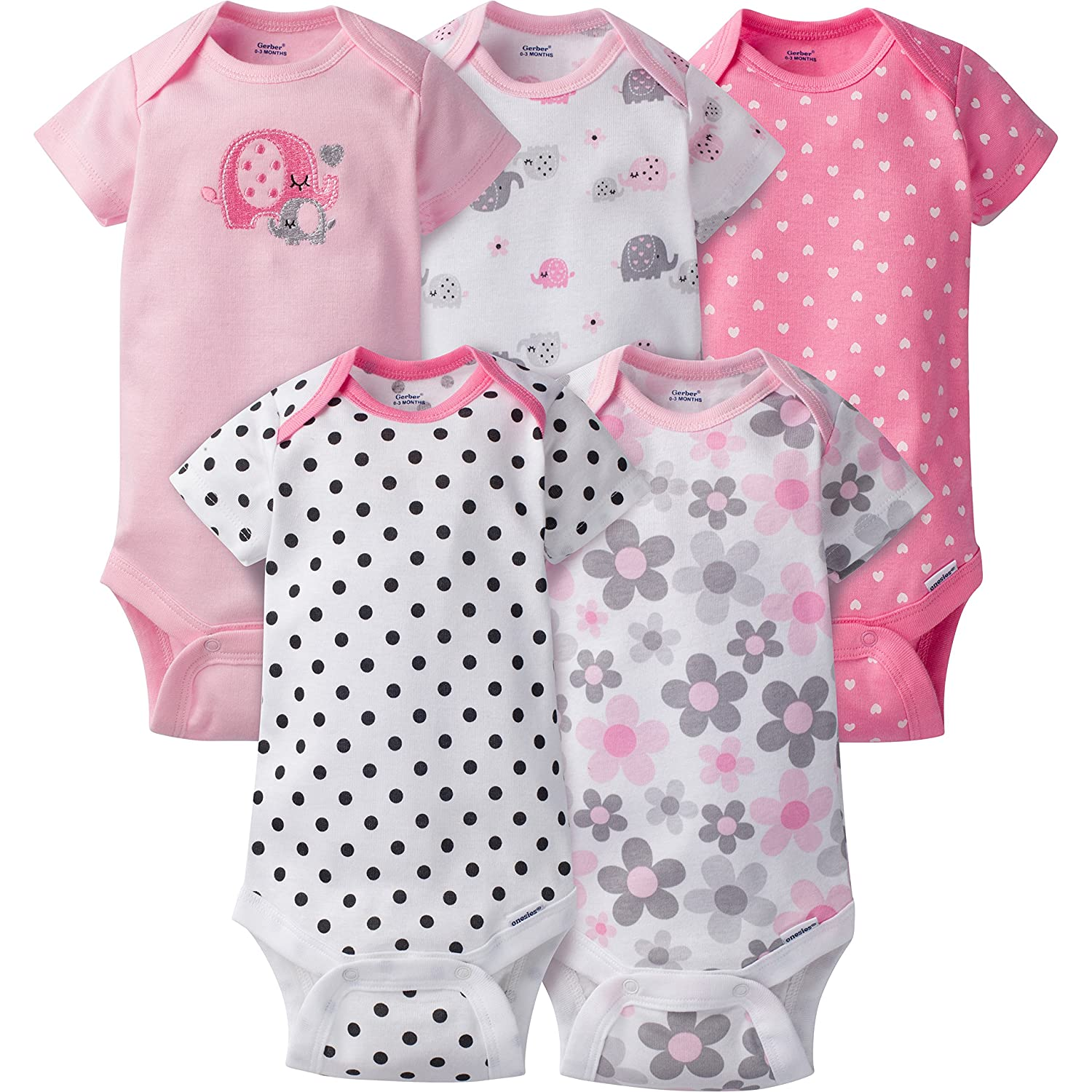Gerber Baby Girls' 5 Pack Onesies, Elephants/Flowers, 0-3 Months 81884516AGR303M