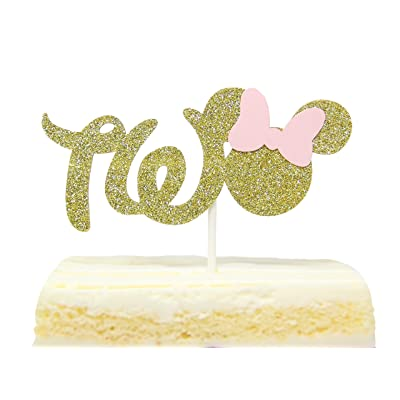 Gold And Pink Glitter Minnie Mouse Inspired Cake Topper for Two Years Old Birthday Best Seller: Toys & Games