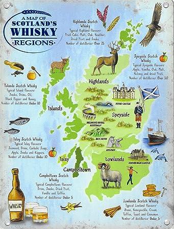 Schottland Karte Whisky.New 30 X 40 Cm Schottland Whisky Regionen Karte Vintage Emaille Stil Große Metall Zeichen