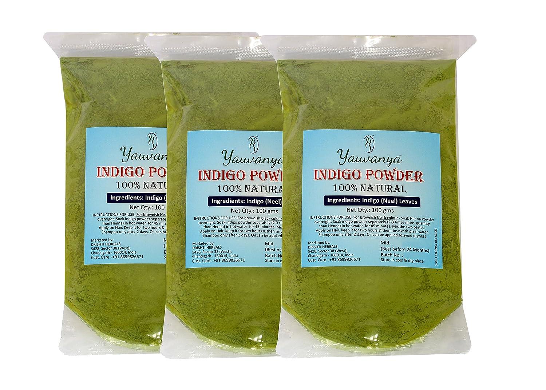 Yauvanya Pure Indigo Powder for hair - 3 X 100 Gms Drishti Herbals
