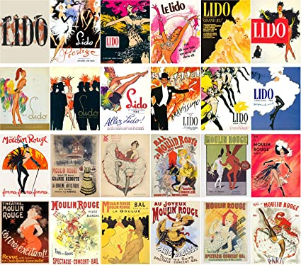 Postal Set 24pcs Moulin Rouge y Lido Cabaret sexy baile chica Vintage Posters
